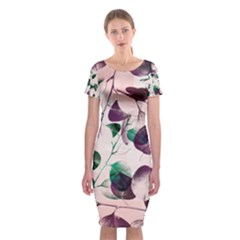 Spiral Eucalyptus Leaves Classic Short Sleeve Midi Dress by DanaeStudio