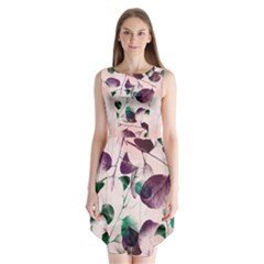Spiral Eucalyptus Leaves Sleeveless Chiffon Dress