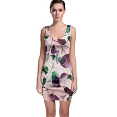 Spiral Eucalyptus Leaves Bodycon Dress by DanaeStudio