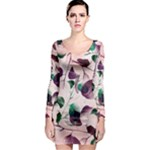 Spiral Eucalyptus Leaves Long Sleeve Bodycon Dress