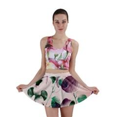 Spiral Eucalyptus Leaves Mini Skirt by DanaeStudio