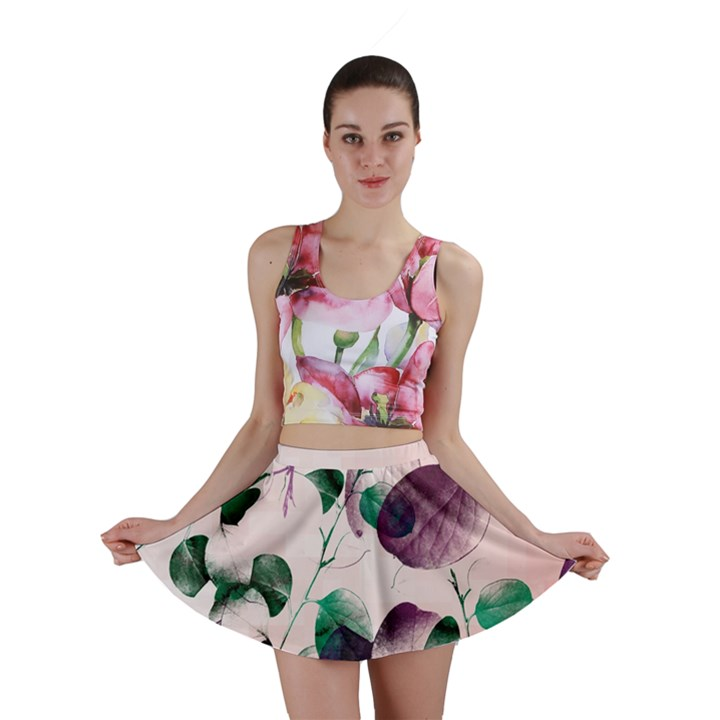 Spiral Eucalyptus Leaves Mini Skirt