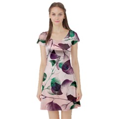 Spiral Eucalyptus Leaves Short Sleeve Skater Dress by DanaeStudio
