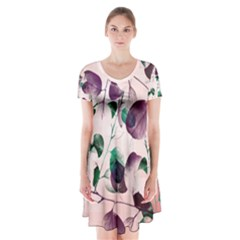 Spiral Eucalyptus Leaves Short Sleeve V Neck Flare Dress