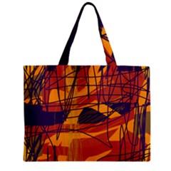 Orange High Art Zipper Mini Tote Bag by Valentinaart