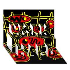 Red And Yellow Hot Design Work Hard 3d Greeting Card (7x5) by Valentinaart