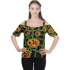 Orange And Green Abstraction Women s Cutout Shoulder Tee by Valentinaart
