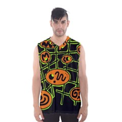 Orange And Green Abstraction Men s Basketball Tank Top by Valentinaart