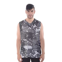Pixel White Urban Camouflage Pattern Men s Basketball Tank Top by artpics