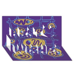 Purple And Yellow Abstraction Best Wish 3d Greeting Card (8x4) by Valentinaart