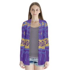 Purple And Yellow Abstraction Drape Collar Cardigan
