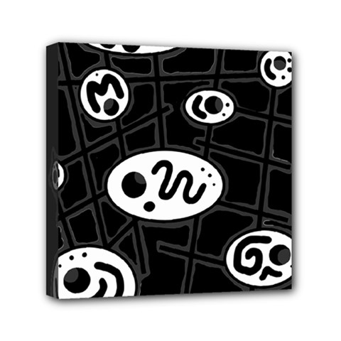 Black And White Crazy Abstraction  Mini Canvas 6  X 6  by Valentinaart