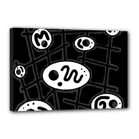 Black And White Crazy Abstraction  Canvas 18  X 12  by Valentinaart