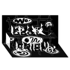 Black And White Crazy Abstraction  Best Friends 3d Greeting Card (8x4) by Valentinaart
