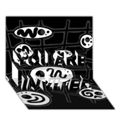 Black and white crazy abstraction  YOU ARE INVITED 3D Greeting Card (7x5)