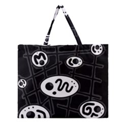 Black And White Crazy Abstraction  Zipper Large Tote Bag by Valentinaart