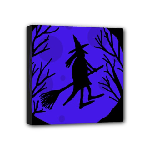 Halloween Witch   Blue Moon Mini Canvas 4  X 4  by Valentinaart