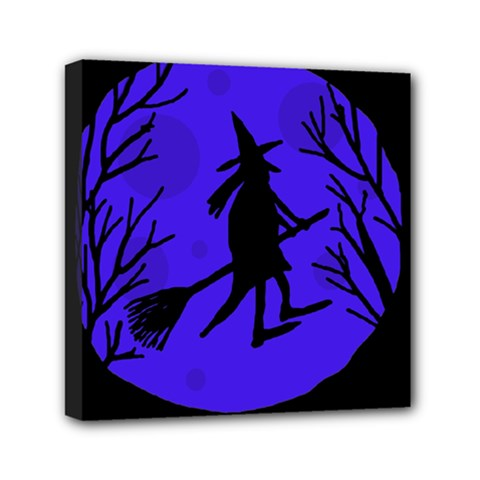 Halloween Witch   Blue Moon Mini Canvas 6  X 6  by Valentinaart