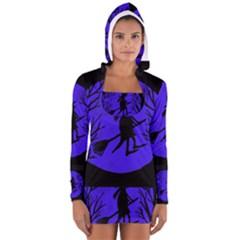 Halloween Witch   Blue Moon Women s Long Sleeve Hooded T Shirt by Valentinaart