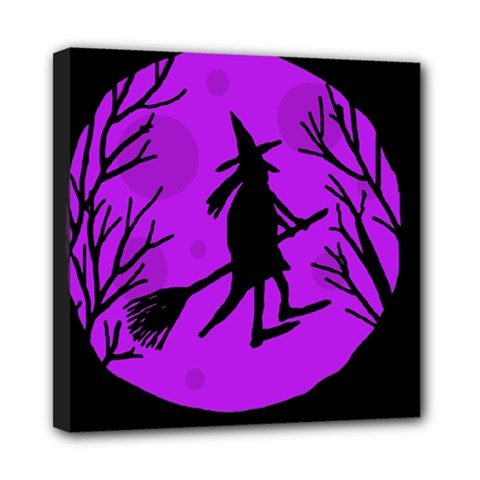 Halloween Witch   Purple Moon Mini Canvas 8  X 8  by Valentinaart