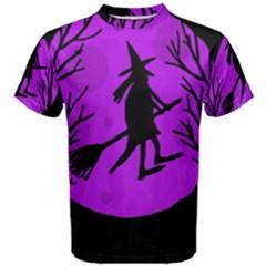 Halloween Witch   Purple Moon Men s Cotton Tee by Valentinaart