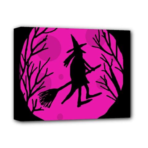 Halloween Witch   Pink Moon Deluxe Canvas 14  X 11  by Valentinaart