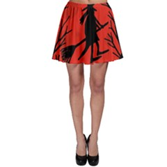 Halloween Witch   Red Moon Skater Skirt by Valentinaart