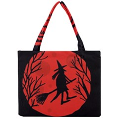 Halloween Witch   Red Moon Mini Tote Bag by Valentinaart