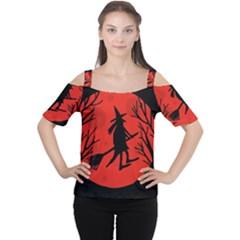 Halloween Witch   Red Moon Women s Cutout Shoulder Tee by Valentinaart