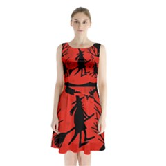Halloween Witch   Red Moon Sleeveless Chiffon Waist Tie Dress