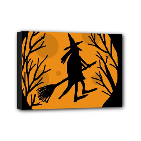 Halloween Witch   Orange Moon Mini Canvas 7  X 5  by Valentinaart