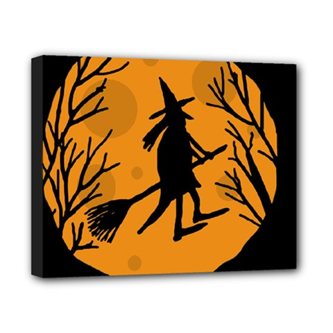 Halloween Witch   Orange Moon Canvas 10  X 8  by Valentinaart