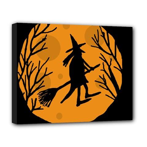 Halloween Witch   Orange Moon Deluxe Canvas 20  X 16   by Valentinaart