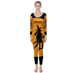 Halloween Witch   Orange Moon Long Sleeve Catsuit by Valentinaart