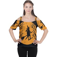 Halloween Witch   Orange Moon Women s Cutout Shoulder Tee by Valentinaart