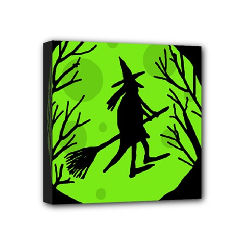 Halloween Witch   Green Moon Mini Canvas 4  X 4  by Valentinaart