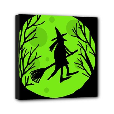 Halloween Witch   Green Moon Mini Canvas 6  X 6  by Valentinaart