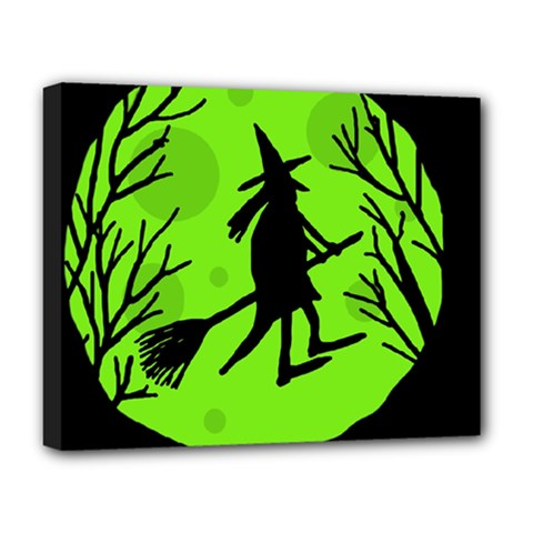 Halloween Witch   Green Moon Deluxe Canvas 20  X 16   by Valentinaart