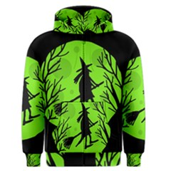 Halloween Witch   Green Moon Men s Zipper Hoodie