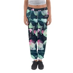 Modern Green And Pink Leaves Women s Jogger Sweatpants