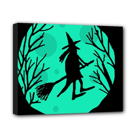 Halloween Witch   Cyan Moon Canvas 10  X 8  by Valentinaart