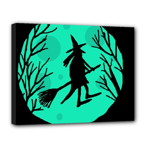 Halloween Witch   Cyan Moon Canvas 14  X 11  by Valentinaart
