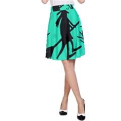 Halloween Witch   Cyan Moon A Line Skirt by Valentinaart