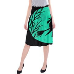 Halloween Witch   Cyan Moon Midi Beach Skirt by Valentinaart