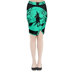 Halloween Witch   Cyan Moon Midi Wrap Pencil Skirt by Valentinaart