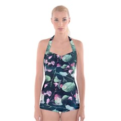 Modern Green And Pink Leaves Boyleg Halter Swimsuit