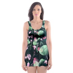 Modern Green And Pink Leaves Skater Dress Swimsuit by DanaeStudio