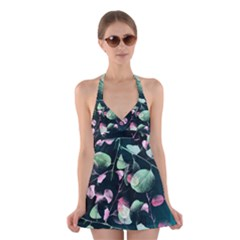 Modern Green And Pink Leaves Halter Swimsuit Dress