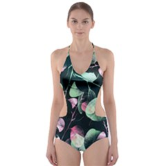 Modern Green And Pink Leaves Cut Out One Piece Swimsuit