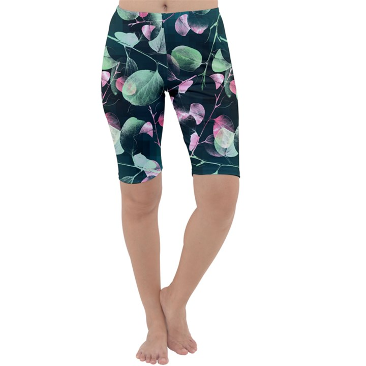 Modern Green and Pink Leaves Cropped Leggings